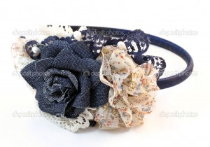 Hair band with jeans flowers